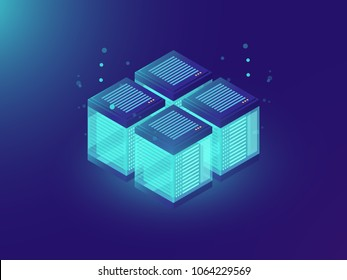 Server room, isometric internet equipment industry, data center vector concept, blockchain token system, hardware ultraviolet background