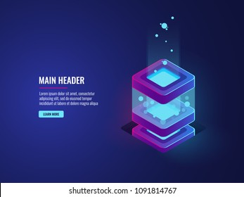 Server room isometric vector, data center and database icon, bigdata processing and computing, vpn technology dark neon