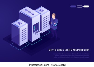 Server room, Man system administrator, data protection concept, professional hosting and data storage, cloud service isometric vector illustration ultraviolet background