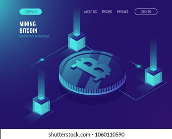 Server room for mining crypto currency bitcoin, computer technology web page, data center, cloud processing services ultraviolet isometric vector illustration