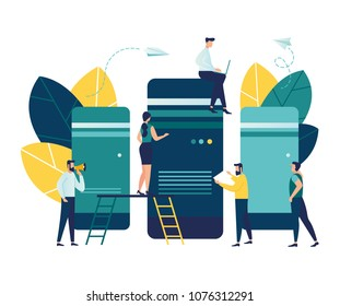 Server room for network and telecommunication technologies, conceptual vector illustration on a white background, data storage, information, file transfer over a network vector