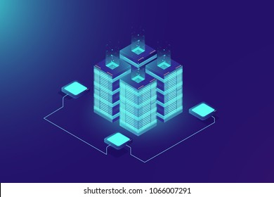 Server room rack, blockchain technology, token api access, data center, cloud storage concept, data exchange protocol illustration, dark neon gradient background