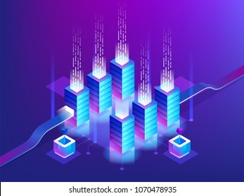 Server room rack, blockchain technology, token api access, data center, cloud storage concept, data exchange protocol. Vector illustration