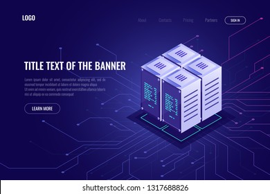 Server room rack, cloud storage and remote data warehouse, server cabinet, computer technology, blockchain, cryptocurrency, data processing concept