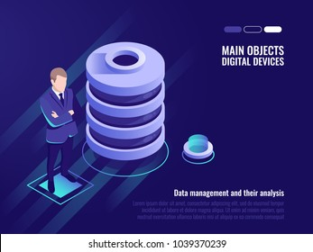 Server room rack, Data canter isometric vector, information management