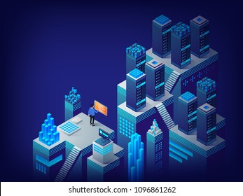 Server room rack, data center. Corporation public data. System administrator. Access for file who storage on remote cloud server concept, modern server room. Isometric vector