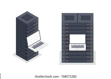 Server room rack, remote control vector isometric, repair and restore server equipment concept, hosting configuration isolated on white