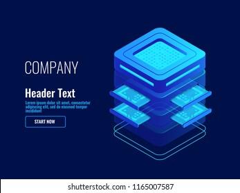 Server room, supercomputer, artificial intelligence ai, memory slot, data saving, digital technology tech isometric vector illustration