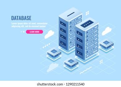 Server room, web site hosting, cloud storage, database and data center isometric icon, blockchain digital technology, flat vector illustration blue white