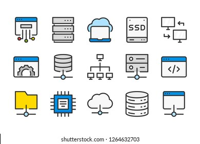 Server and technology color line icons. Backup and storage vector linear colorful icon set. Isolated icon collection on white background.