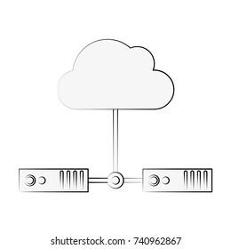 servers linked web hosting icon image vector illustration design