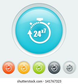 Service 24 hours for 7 days button in six colors: blue, orange, yellow, green, black and white