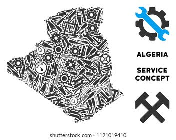 Service Algeria map composition of tools. Abstract territory scheme in grey color. Vector Algeria map is constructed of gearwheels, screwdrivers and other service icons. Concept of technician job.