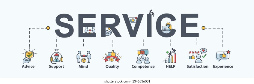 Service banner web icon for business, help, mind, advice, satisfaction, experience, quality and support. Minimal vector infographic.