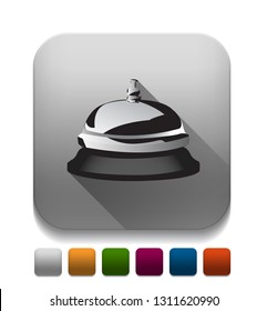 service bell icon With long shadow over app button