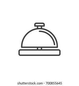 Service bell line icon, outline vector sign, linear style pictogram isolated on white. Symbol, logo illustration. Editable stroke. Pixel perfect vector graphics