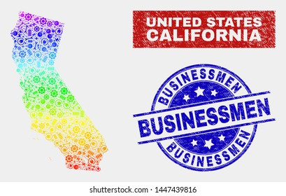 Service California State map and blue Businessmen scratched seal stamp. Spectral gradiented vector California State map mosaic of productivity items. Blue rounded Businessmen stamp.