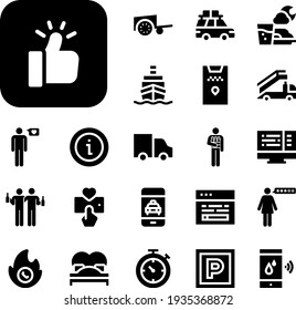 service Collection Vector Icons Set. service filled icons also app, bed, barrow, parking, code, rating, taxi, ship, fasting, chronometer, distribution, stair truck, hot line