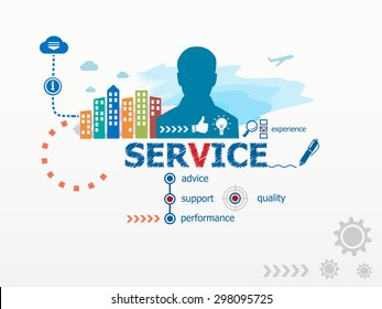 Service concept and business man. Flat design illustration for business, consulting, finance, management, career.