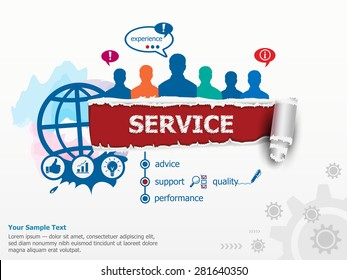 Service concept and group of people. Set of flat design illustration concepts for business, consulting, finance, management, career, human resources.