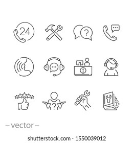 service customer help icons set, call center support, assistance phone, advise contact information, thin line web symbols on white background - editable stroke vector illustration eps 10