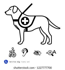 Service dog icons set