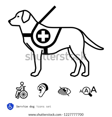 Service Dog Icons Set Stock Vector Royalty Free 1227777700