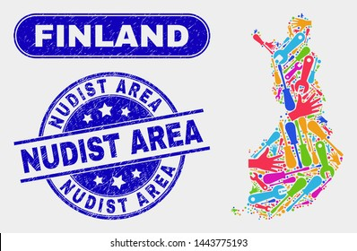 Service Finland map and blue Nudist Area scratched seal stamp. Colorful vector Finland map mosaic of service parts. Blue rounded Nudist Area seal.