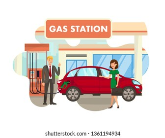 Service at Gas Station Flat Isolated Illustration. Young Woman with Briefcase, Man in Suit Showing Thumbs up Isolated Cartoon Characters. Transport Fueling, Petrol Charging Service. Car Assistance