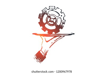Service, gear, tech, fix, repair concept. Hand drawn gear as symbol of technology service concept sketch. Isolated vector illustration.