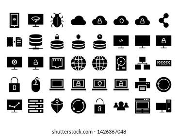 it service glyph icon symbol set