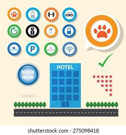 service icon for booking hotel selection concept