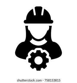 Service Icon Vector Female Person Worker Avatar Profile with Gear Cog Wheel for Engineering Support and with Hard Hat in Glyph Pictogram Symbol illustration