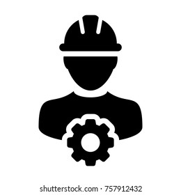 Service Icon Vector Male Person Worker Avatar Profile with Gear Cog Wheel for 