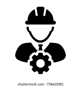 Service Icon Vector Male Person Worker Avatar Profile with Gear Cog Wheel for Engineering Support and with Hard Hat in Glyph Pictogram Symbol illustration