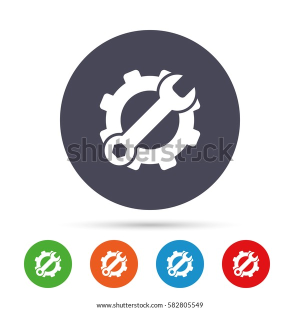 Service icon. Wrench key with cogwheel gear sign. Round colourful buttons with flat icons. Vector