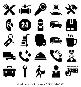 Service icons. set of 25 editable filled service icons such as mug, call, toolbox, worker, pump, support, van, fork and knife, cargo tag, cargo container, courier, doctor