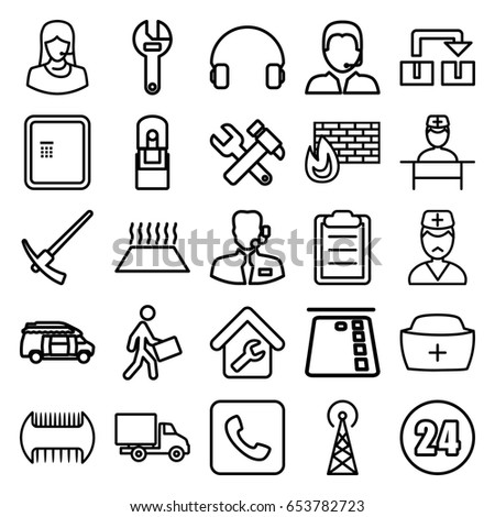 service icons set set 25 service stock vector royalty free White Hummer Limo service icons set set of 25 service outline icons such as signal tower atm b wrench hummer and wrench van courier delivery car customer support