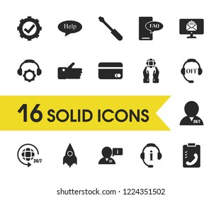 Service icons set with like, operator 24/7 and mobile faq elements. Set of service icons and offline concept. Editable vector elements for logo app UI design.