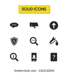 Service icons set with tool help, loupe helper and loupe faq elements. Set of service icons and question concept. Editable vector elements for logo app UI design.