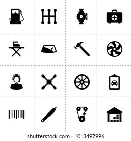 Service icons. vector collection filled service icons. includes symbols such as whell, alloy wheel, timing belt, suspension, window repair. use for web, mobile and ui design.