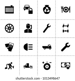 Service icons. vector collection filled service icons. includes symbols such as whell, wrench, wheel balance, car chassis, car radiator. use for web, mobile and ui design.