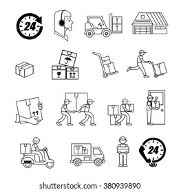 Service Industry including Delivery, Moving, Transportation and Logistic signs set. Thin line art icons on black and white. Flat style illustrations isolated.