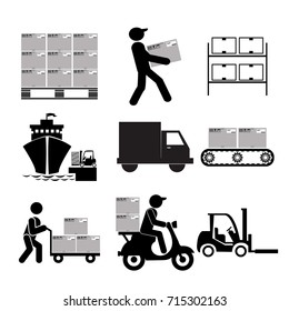 Service Industry including Delivery, Moving, Transportation and Logistic signs icons set.