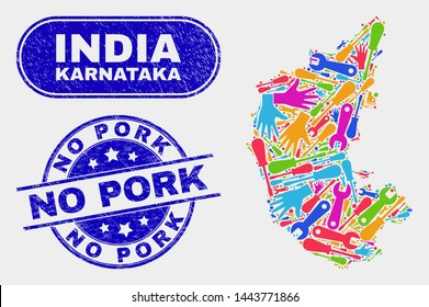 Service Karnataka State map and blue No Pork scratched seal stamp. Colorful vector Karnataka State map mosaic of service units. Blue round No Pork badge.