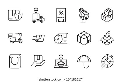 service logistic transport delivery icons vector illustration thick line