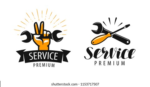 Service logo or label. Repair, workshop icon. Vector illustration