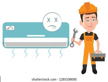 Service man repairman mechanic engineer getting ready to repair air conditioner ac