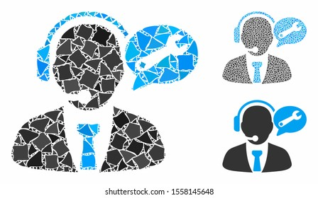 Service manager message composition of ragged pieces in various sizes and color tones, based on service manager message icon. Vector ragged pieces are grouped into mosaic.