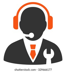 Service Manager vector icon. Style is bicolor flat symbol, orange and gray colors, rounded angles, white background.